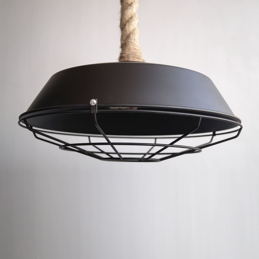 Rope-mounted 14 Inch Matte Black Cage Ceiling Light