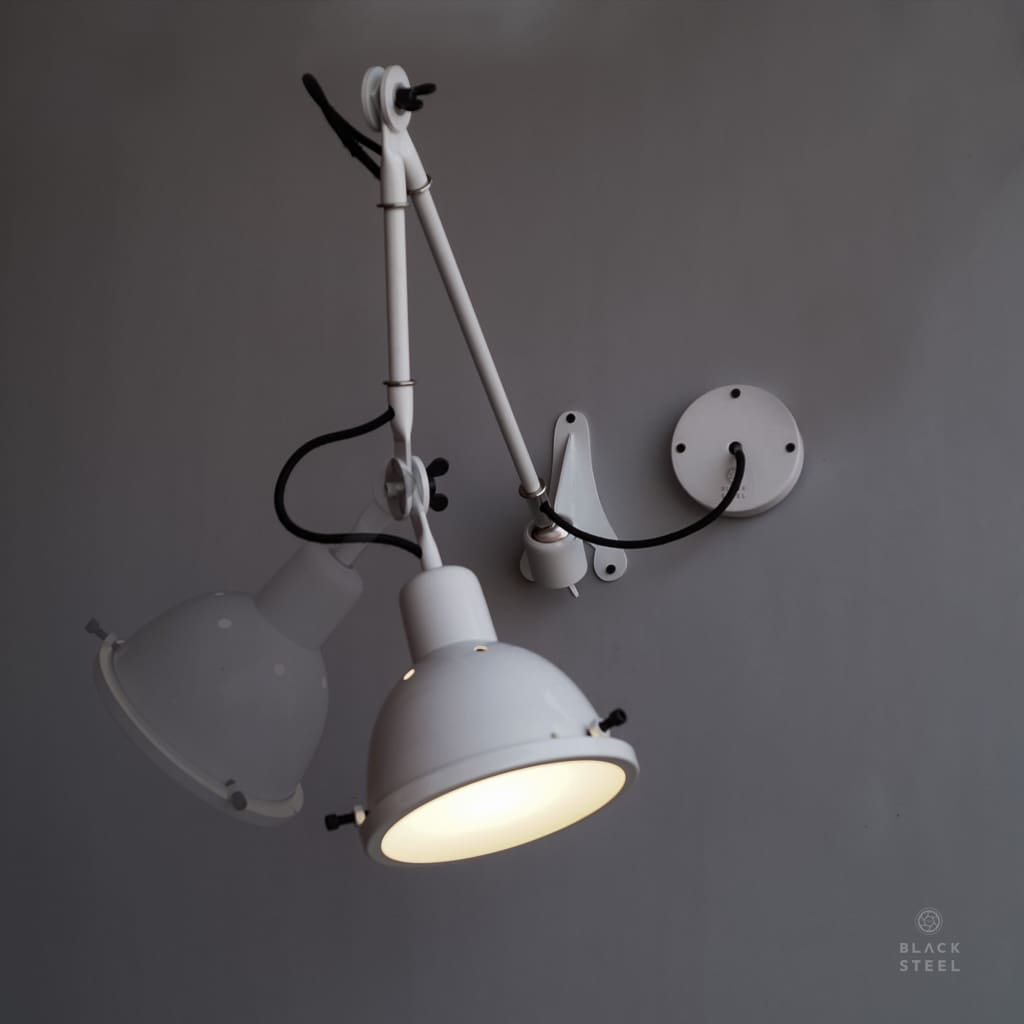 Royal White Industrial Utilitarian Swing-Arm Nordic Wall Lamp - The Black Steel