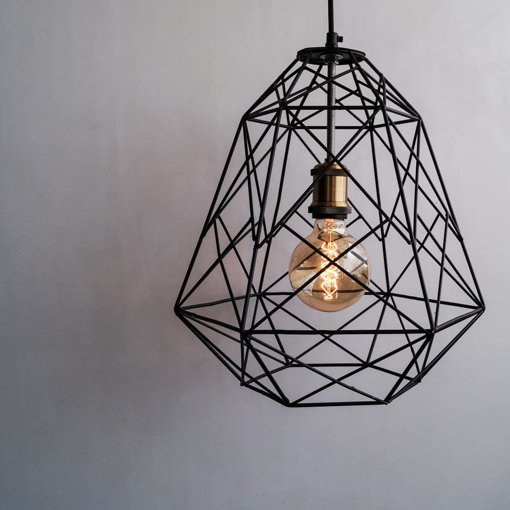 Scandinavian Design Trend - Geometric Industrial Decor Pendant Cage Lamp