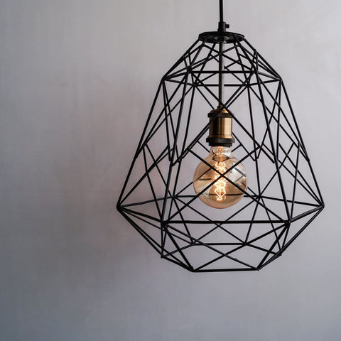 Scandinavian Design Trend - Geometric Industrial Decor Pendant Cage Lamp - The Black Steel