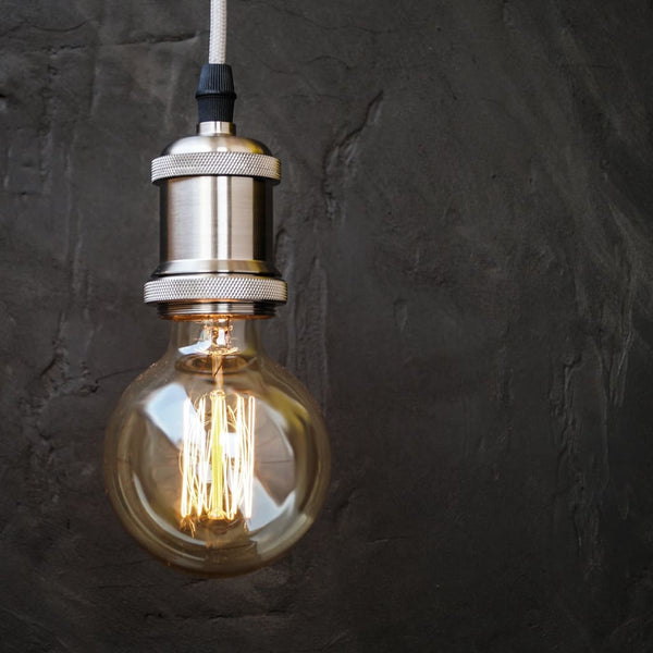 Silver Grey E27 Socket Retro Edison Pendant Light Holder - The Black Steel