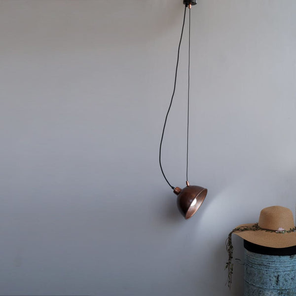 Sling-X Antique Copper Drop Pendant Light - The Black Steel