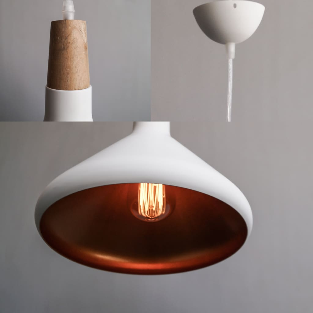 Snow Ivory White/Black Urban Modern Interior Ceiling Lamp - The Black Steel