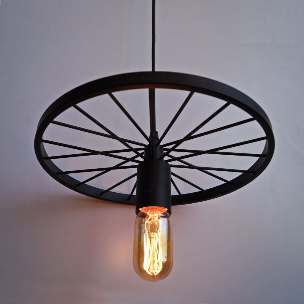 Spoked Wheel Industrial Design Lamp