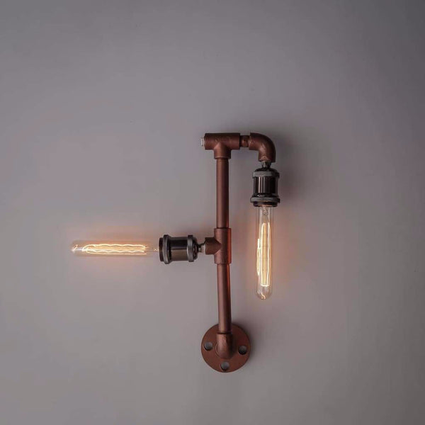 Steampunk Iron Pipe Lamp Wall Light Fixture - The Black Steel