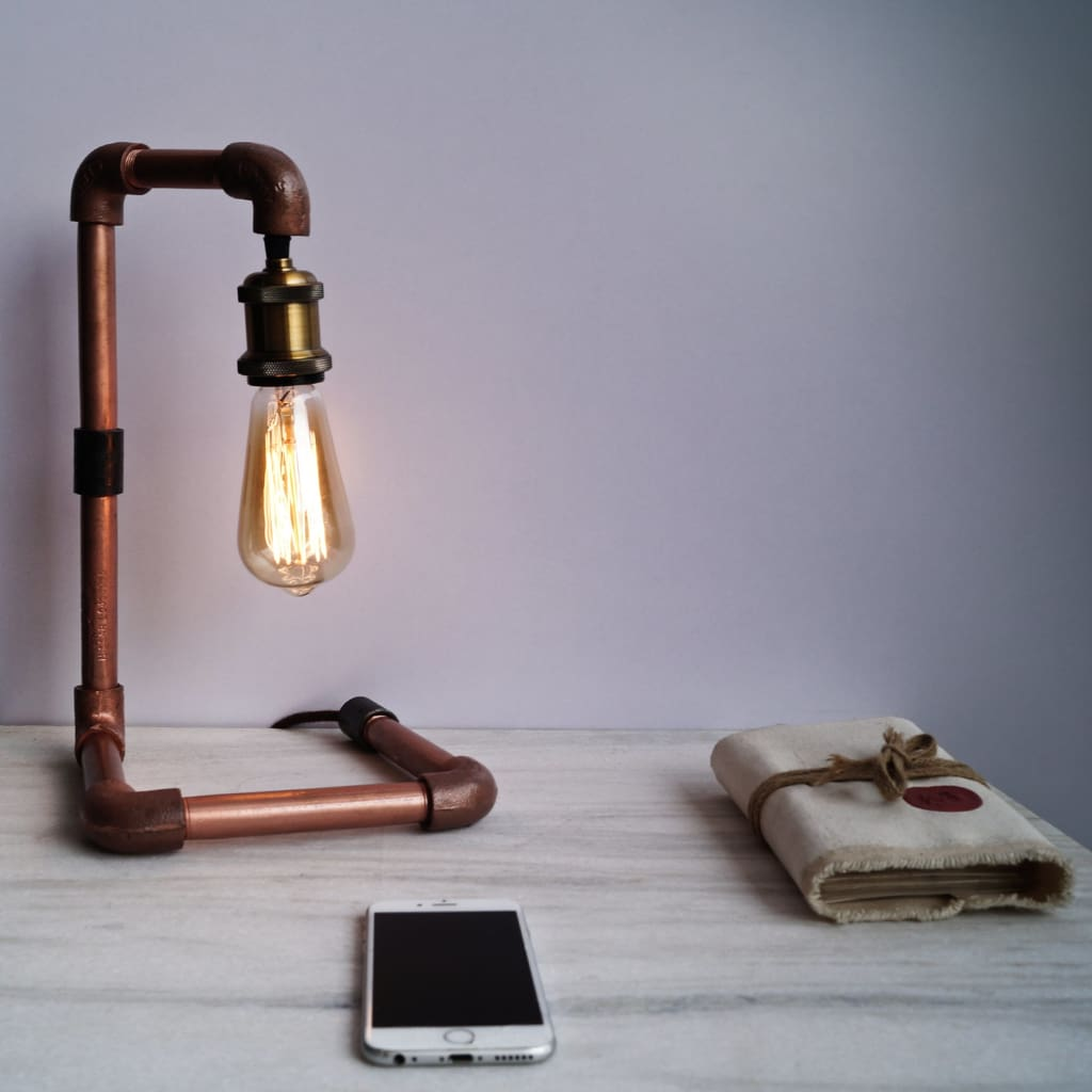 Steampunk Style Industrial Bend Copper Desk CU 29 Pipe Lamp - The Black Steel