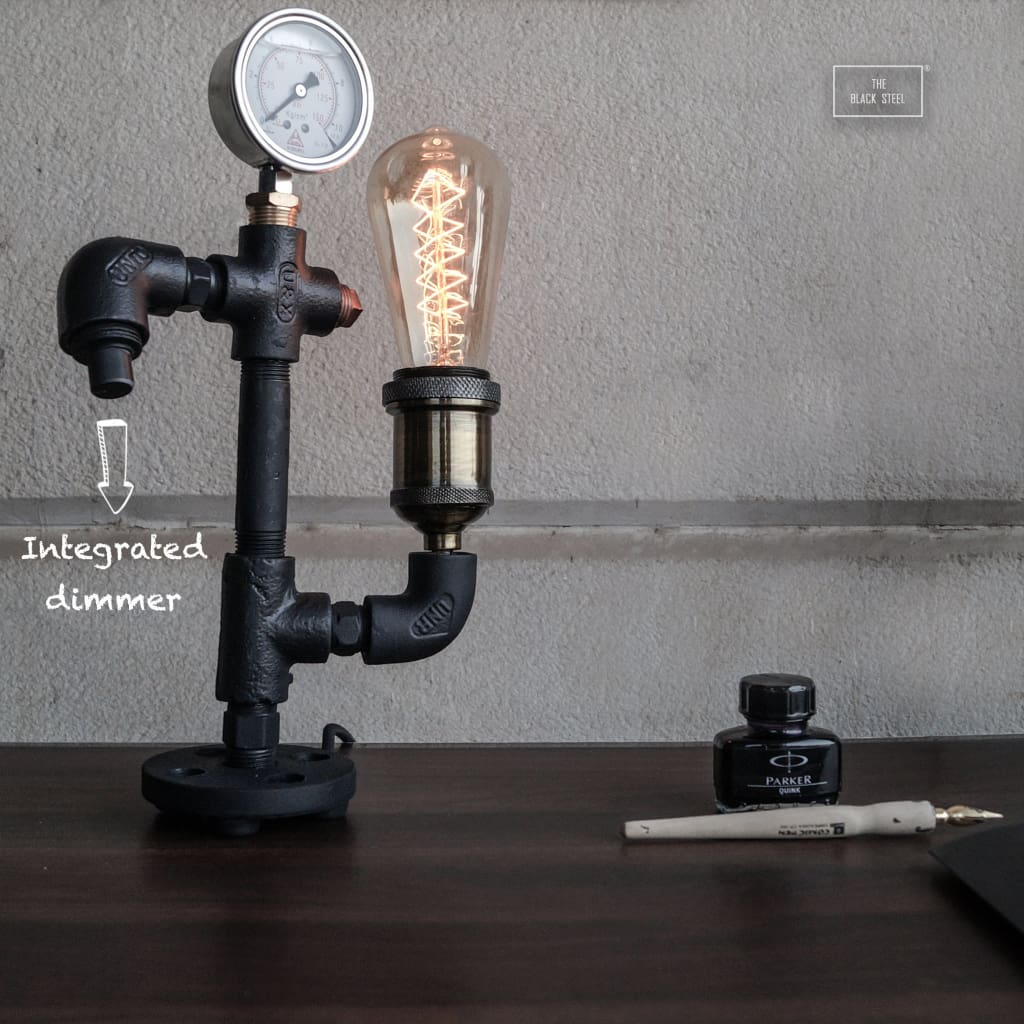 Steampunk Warehouse Pressure Gauge Industrial Lamp With Integrated Dimmer V2.0