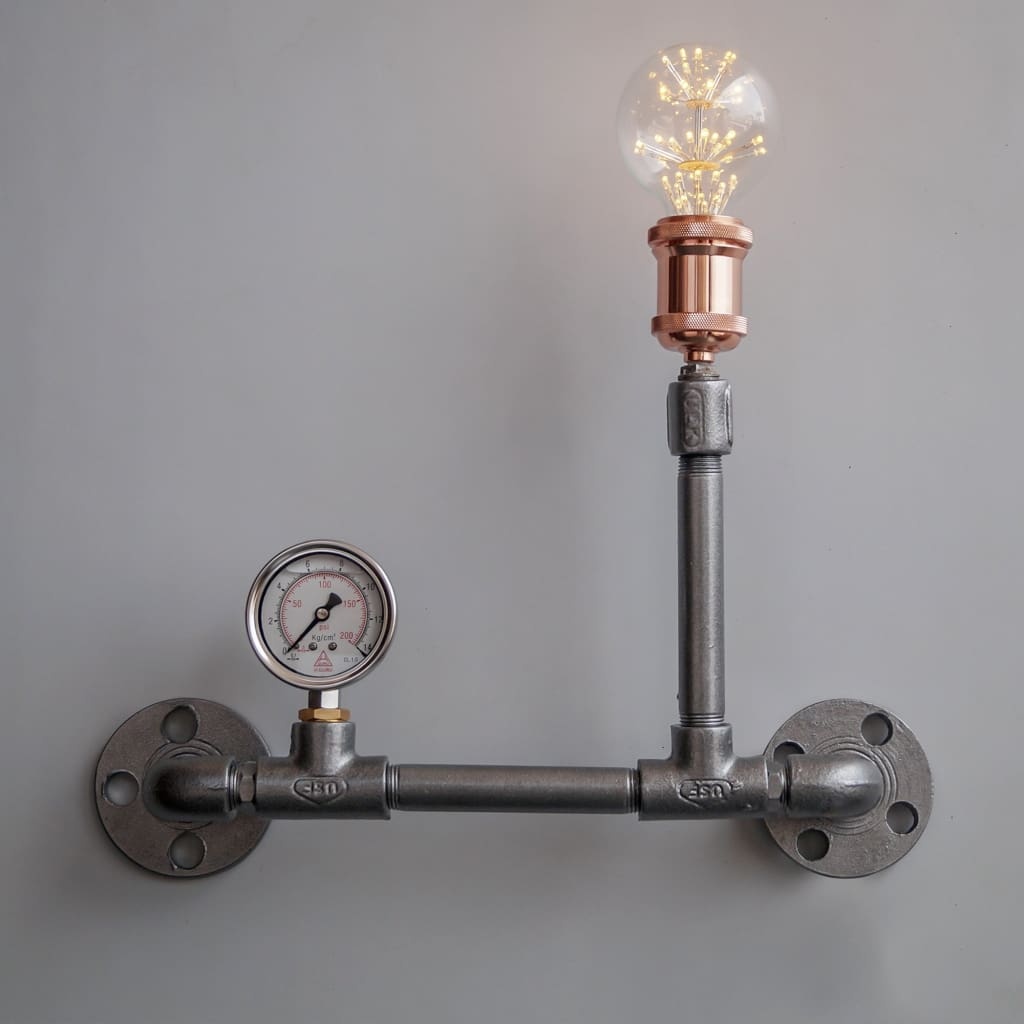 Stena Grey Edison Pipe Wall Lamp Modern Industrial Lighting - The Black Steel