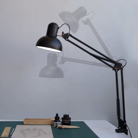 "Swing Arm Desk Clamp-On-Lamp 30""H - The Black Steel"