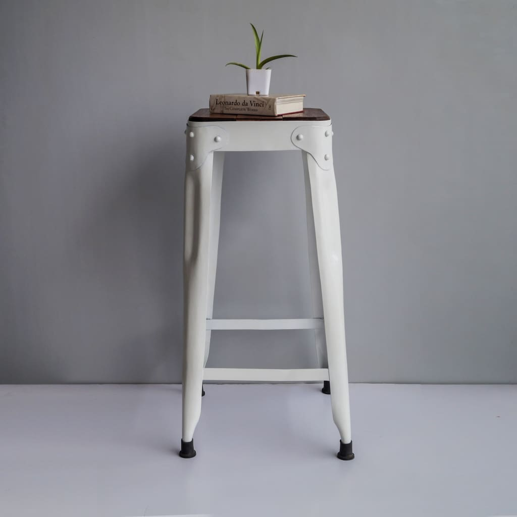 Tall White Bar Stool Industrial Style Furniture Riveted Iron Wood Accent - Set of 4 - The Black Steel