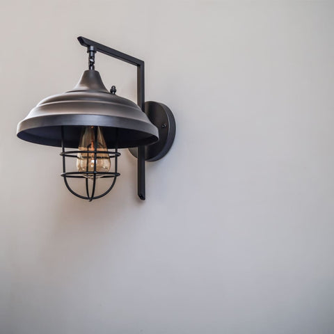 Theopompus Lantern Vintage Style Interior Wall Lamp - The Black Steel
