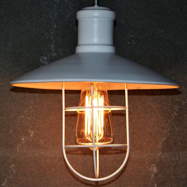 Theopompus White Lantern Lamp - The Black Steel