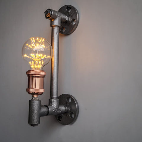 TPF21 Silver Industrial Pipe Wall Sconce - The Black Steel