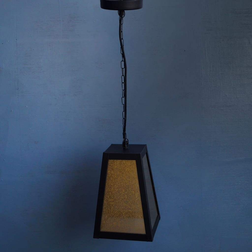 Trapezoid Glass Eclectic Pendant Lamp - The Black Steel