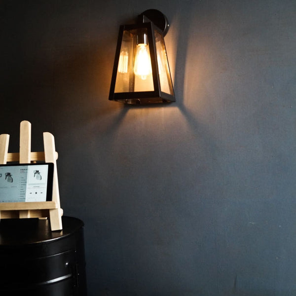 Trapezoid Glass Geometric Industrial Wall  Lamp - The Black Steel
