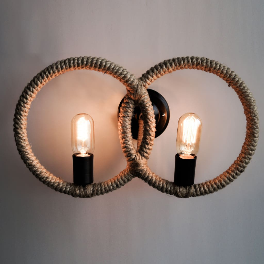 Two-Light Rope Wall Lamp Loft Interior Style Design Idea