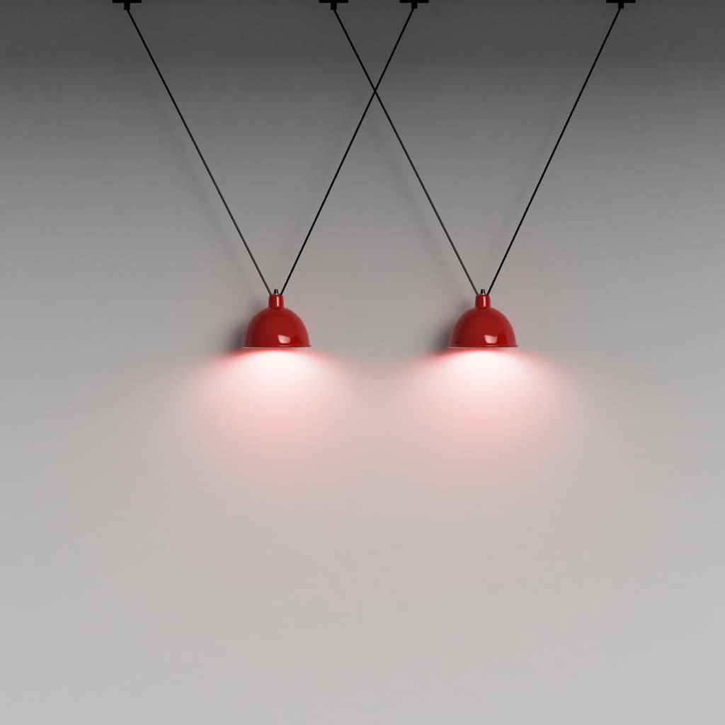 V Cluster Lampshade Pendant Light In Red - The Black Steel