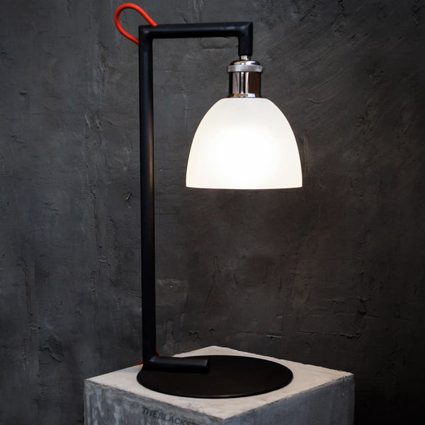 Vertigo Black Frosted Glass Bedside Lamp - The Black Steel