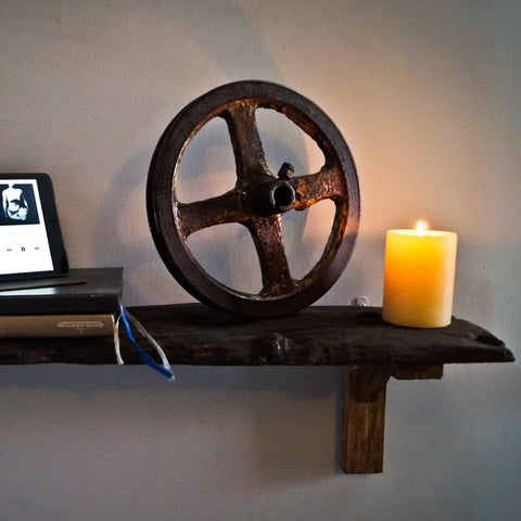 Vintage Factory Pulley-Wheel Industrial Table Décor - The Black Steel