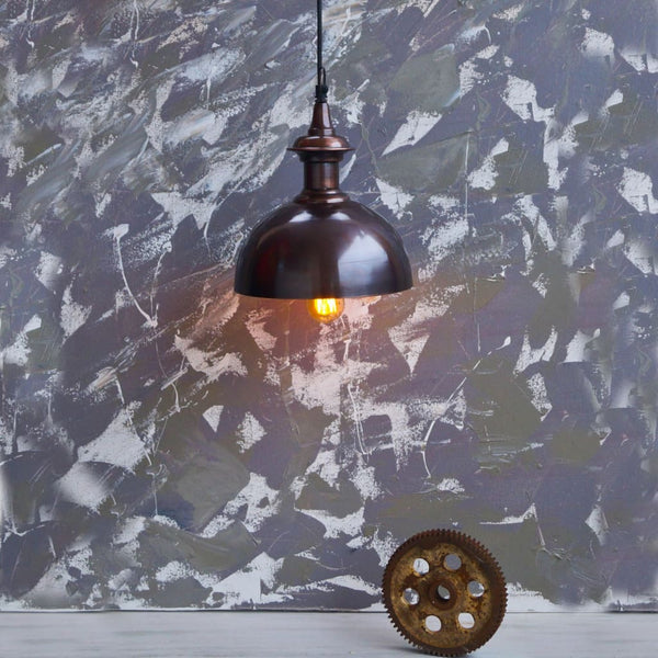 Vintage Gold and Copper Pendant Industrial Lamp - The Black Steel