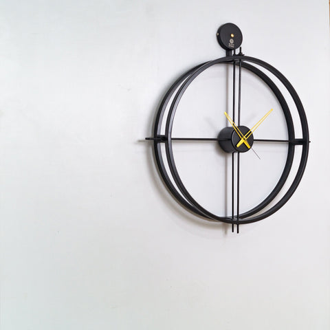 Minimal Black Metal Wall Clock - The Black Steel