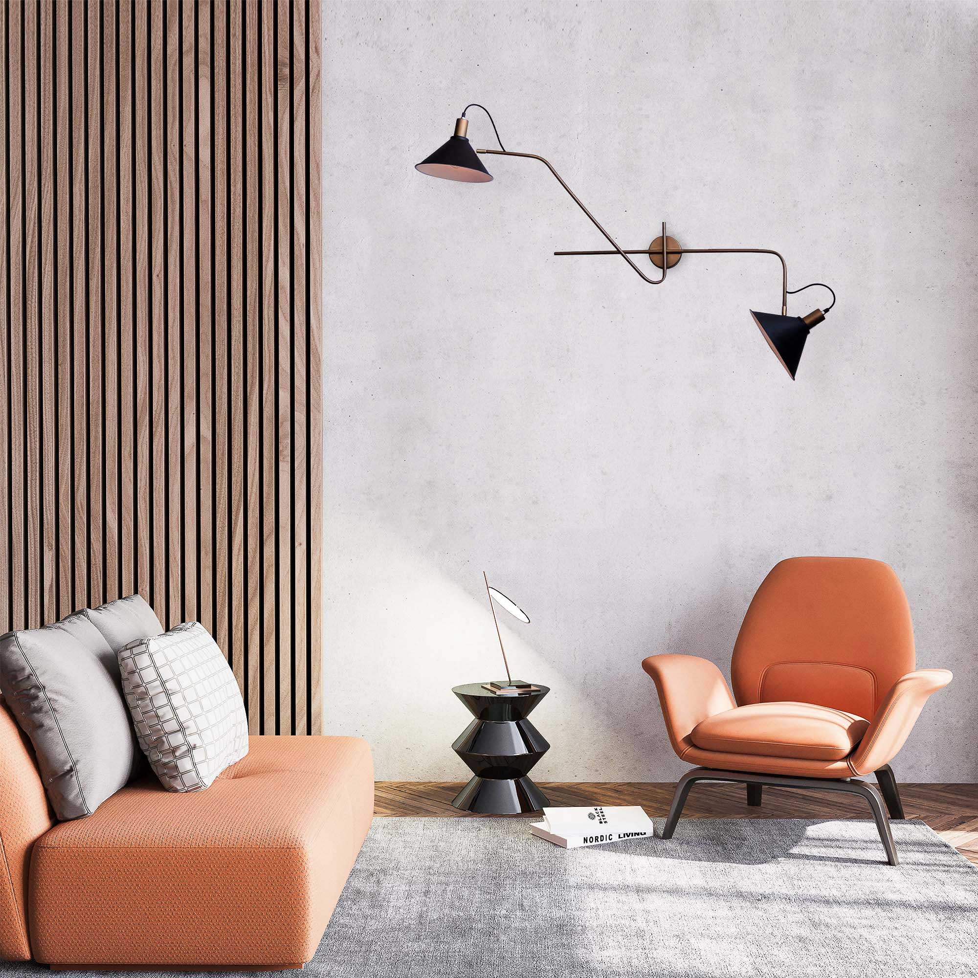 FSW212 Fifty-Ninety MidCentury Modern Wall Sconce Twin Lampshade