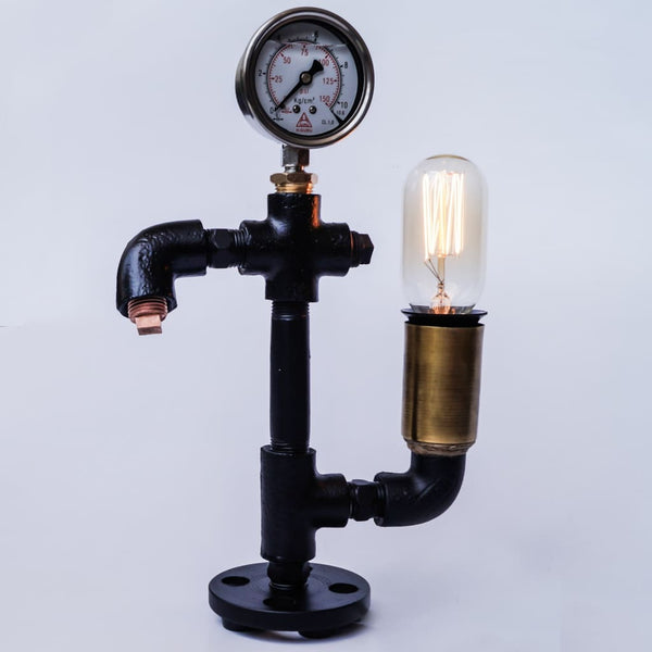 Warehouse Pressure Gauge Twisted Industrial Lamp - The Black Steel