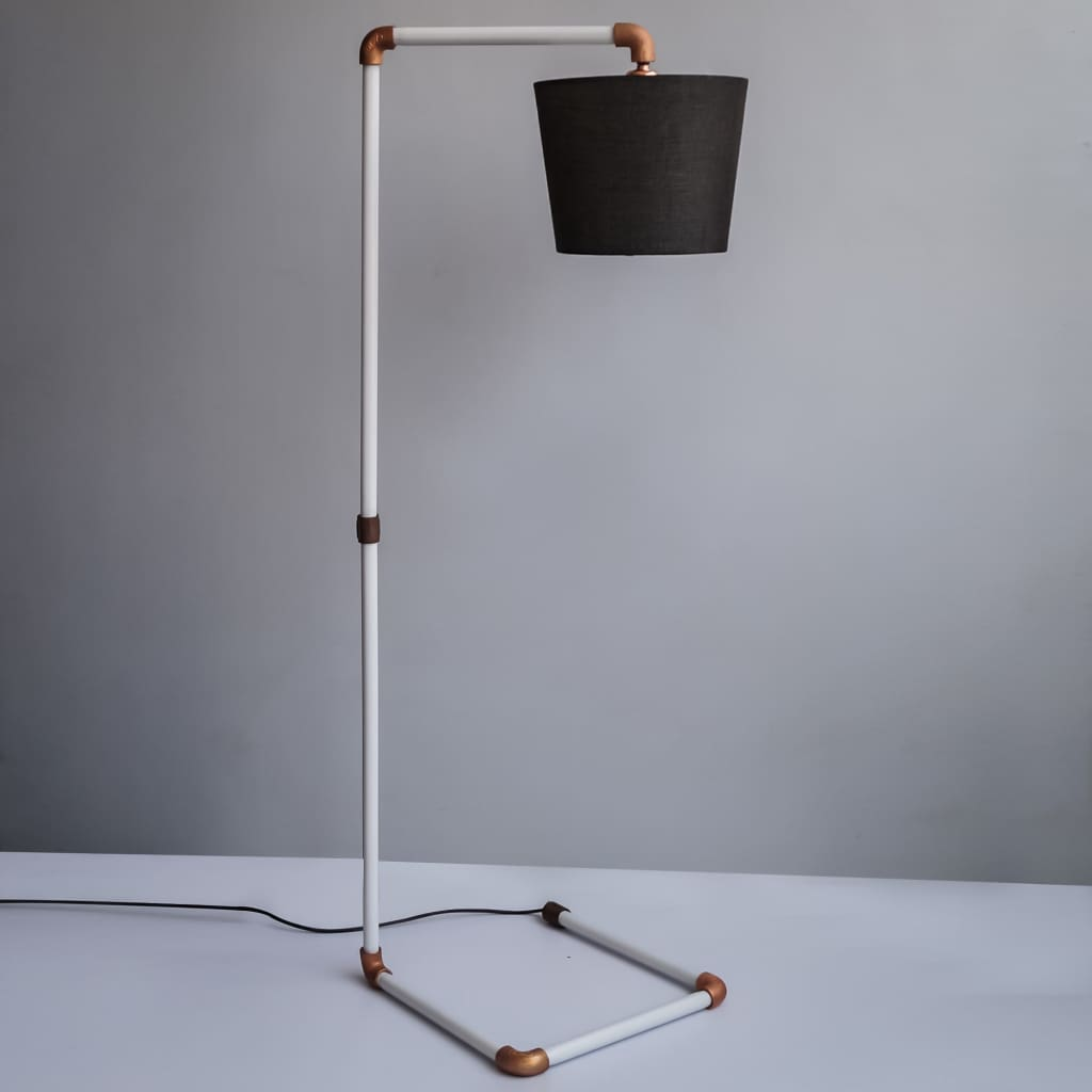 White and Copper Steampunk Pipe Design Industrial Floor Lamp - The Black Steel