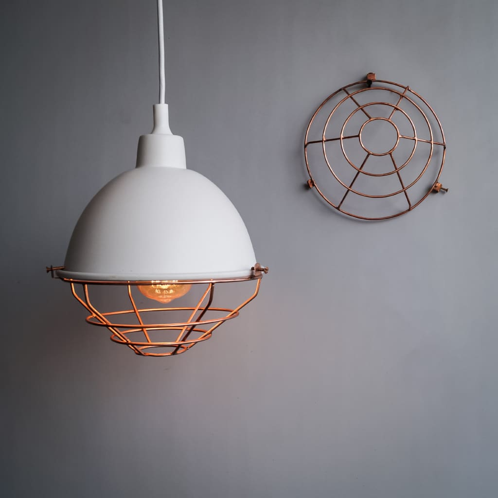 White Dome Industrial Style Copper Grill Pendant Light