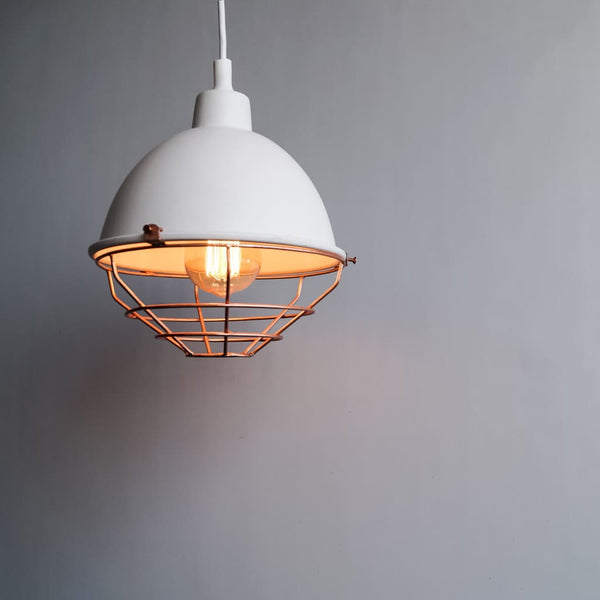 White Dome Industrial Style Copper Grill Pendant Light - The Black Steel