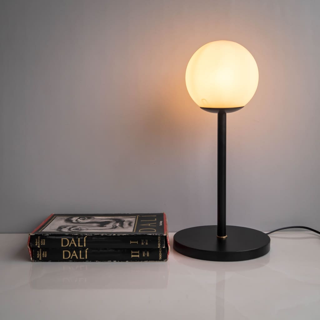 CDL101 White Frosted Glass Shade Contemporary Table Lamp