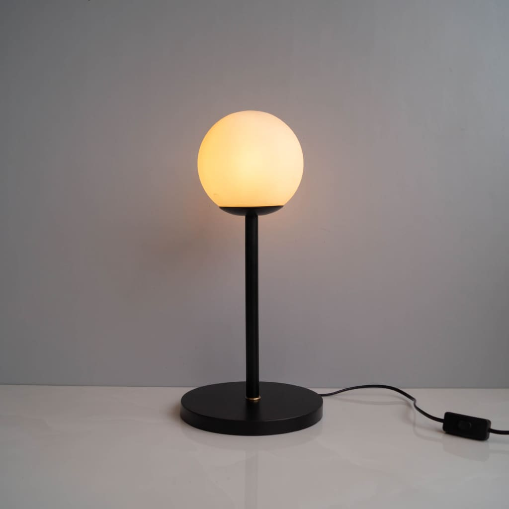 White Frosted Glass Shade Contemporary Table Lamp