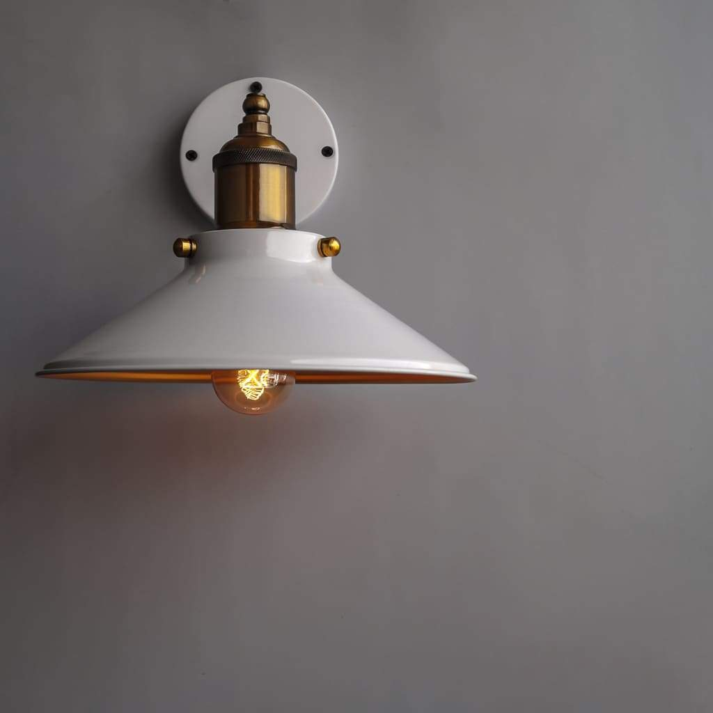 White Scandinavian Cone Wall lamp - The Black Steel
