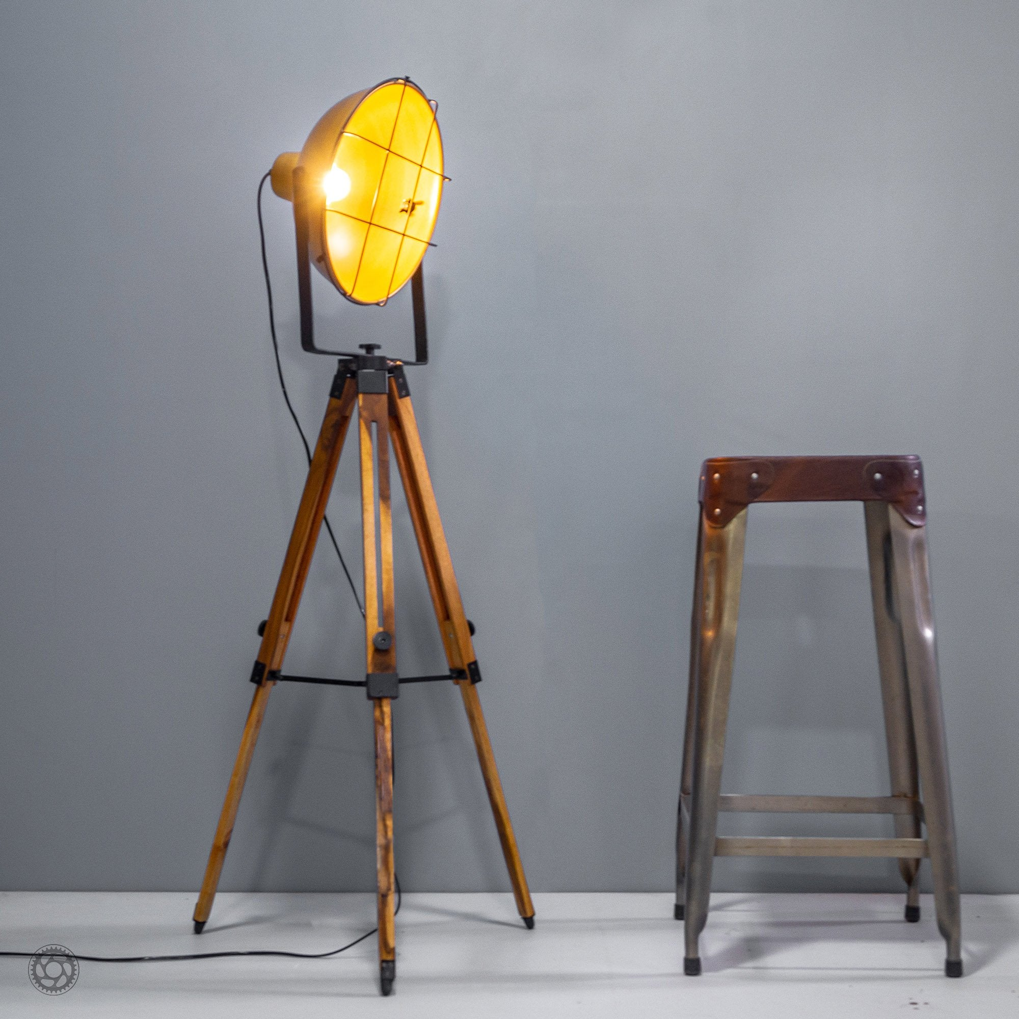 Barn Style Loft Metal and Wood Tripod Floor Lamp
