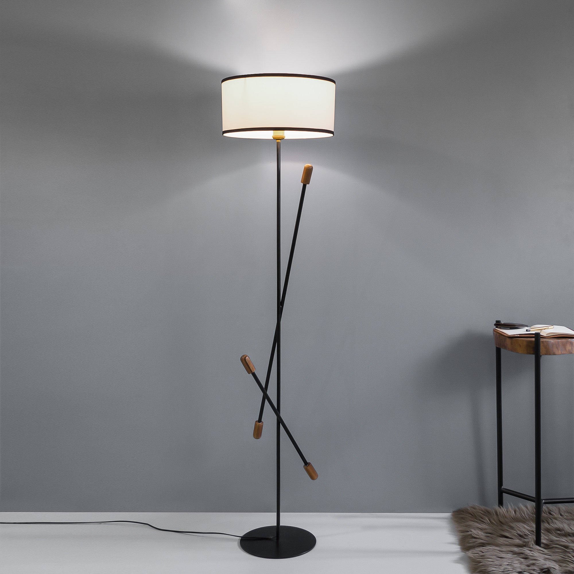 Teak Bud Floor Lamp With White Lampshade