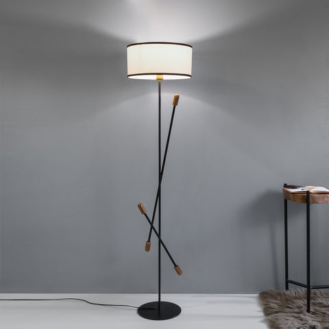 Teak Bud Floor Lamp With White Lampshade - The Black Steel