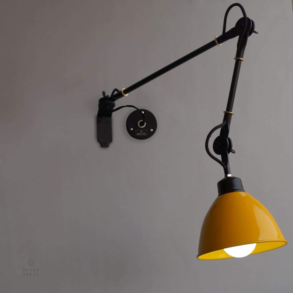 Shop Yellow Wall Lamp Industrial Swing Arm Wall Mounted Light Online