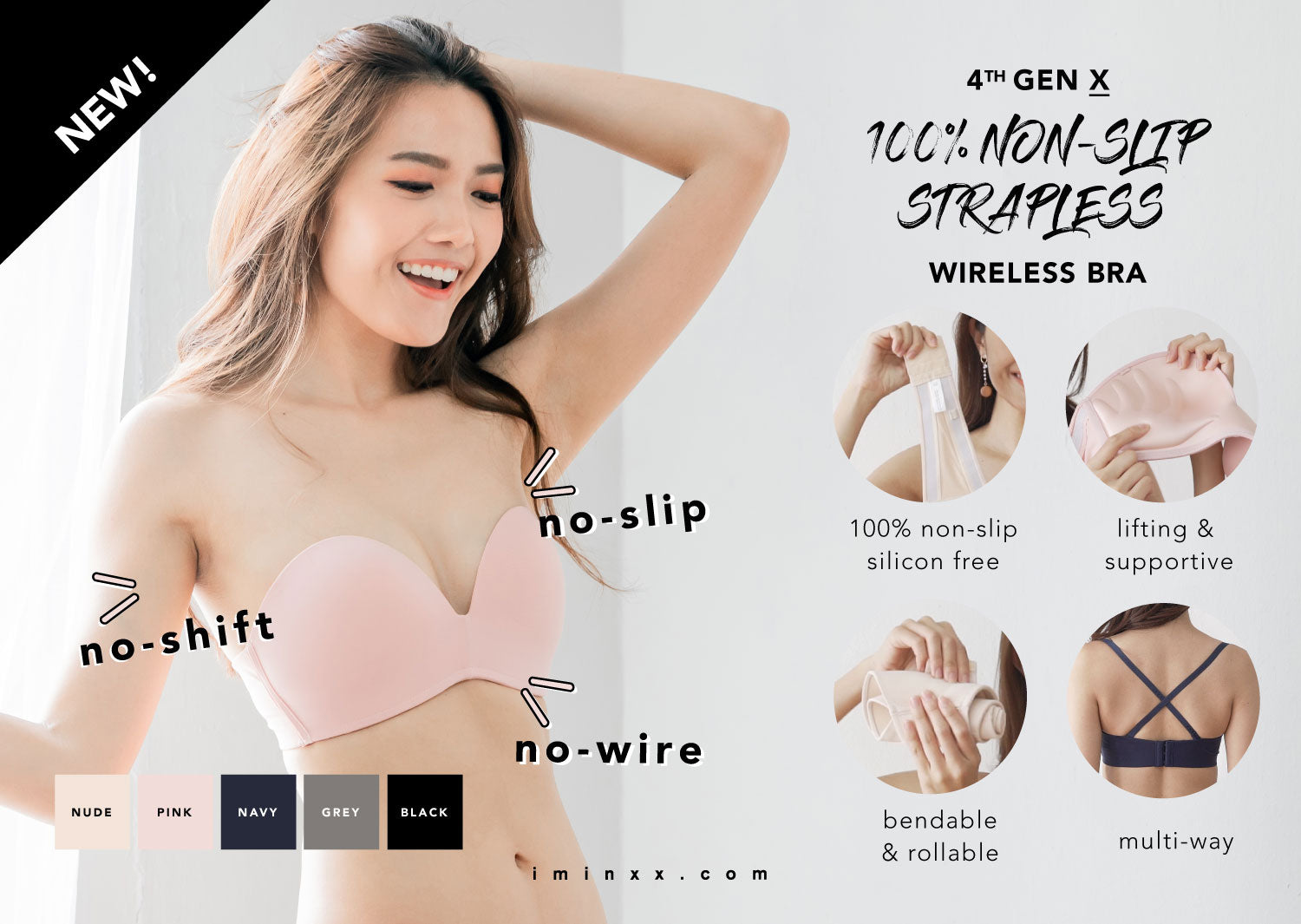 complimentary shipping rich and magnificent best selling NON-SLIP STRAPLESS BRAS - I'M IN - i m i n x x . c o m