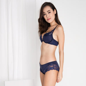 *RESTOCKED* Carried Away Super Push Up Bra in Midnight Blue (Size S Only)