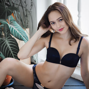*BACKORDER OPEN* Laced It Up! Non-Slip Strapless Push Up Bra in Midnight Blue