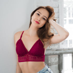 Dear Weekend! Padded Midi Bralette in Wine