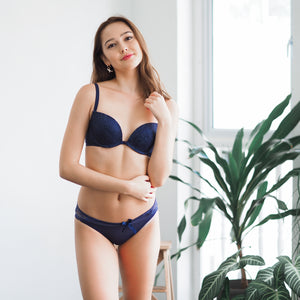 Glamour Girl! Front Clasps Wireless Push Up Bra in Midnight Blue