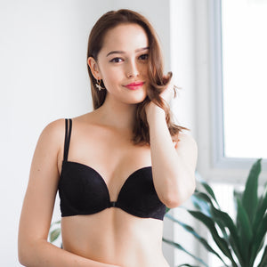 Glamour Girl! Front Clasps Wireless Push Up Bra in Twilight