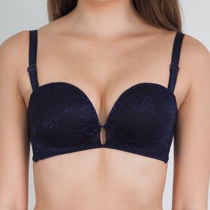 *RESTOCKED* Laced It Up! Non-Slip Strapless Push Up Bra in Midnight Blue