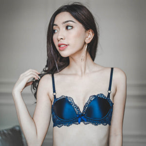 Classic Elegance Satin Lace Push Up Bra in Maritime Blue