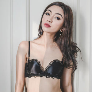 Classic Elegance Satin Lace Push Up Bra in Black Beauty