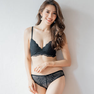 Ultra Soft-Lacey Combo Wireless T-Shirt Bra in Black