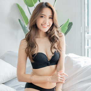 Perfect Bow Super Push Up Wireless Strapless Bra in Black (Size M Only)