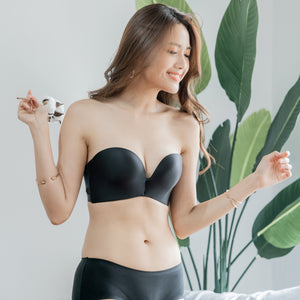Mini Polka 2-Way Strapless Push Up Wireless Bra in Black (Size L & XL Only)