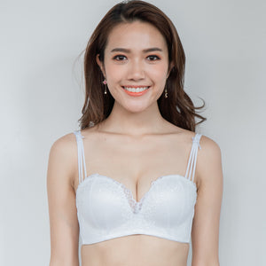 Lacey Twist Balconette Super Push Up Wireless Bra in White
